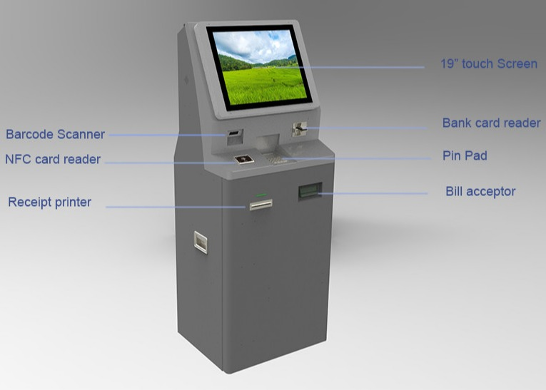 Self-service payment kiosk with cash payment and card dispenser POS