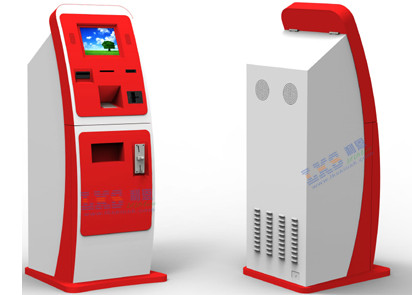White Red Bill Payment Kiosk , UPS Card Vending Dispenser Ticketing Exchange Volchers Device